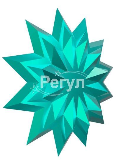 Звезда с логотипом голубой металлик